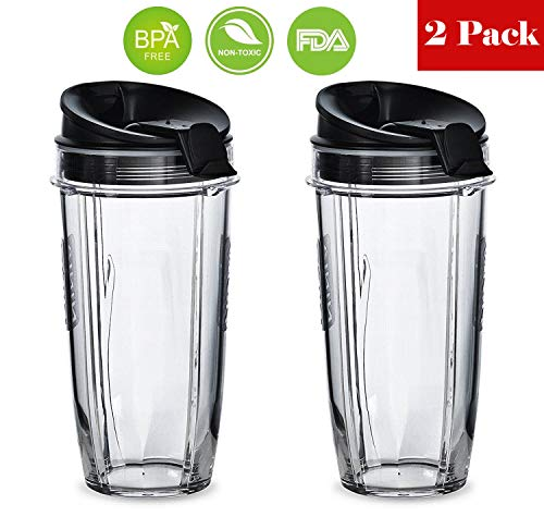 Replacement Nutri Ninja 24 oz Cup with Sip & Seal Lid - For Blender BL450 BL454 Auto-iQ BL480 BL481 BL482 BL687 2-Pack by BLEND PRO