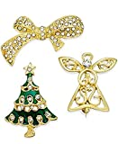 Charter Club Gold-Tone Set of 3 Christmas Crystal Pins