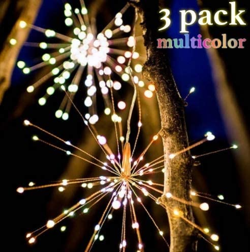 6 Silaba 3 Pack Multi-Color LED Decorative Starburst Fairy Hanging Copper Wire String Lights Waterproof with 8 Mode Dimmable Battery Operated Remote Control