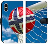 Luxlady iPhone X Flip Fabric Wallet Case Image ID: 34213951 Norway Flag and Soccer Ball Football in Goal net