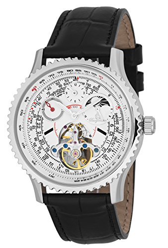 Burgmeister Men's Automatic Stainless Steel and Leather Casual Watch, Color:Black (Model: BM351-182)