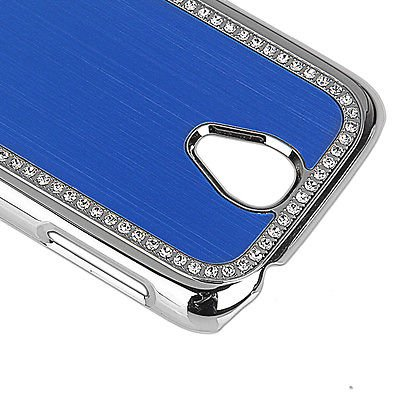 Best Smart Samsung Glaxay S4 Deluxe Blue brushed aluminum diamond case bling cover for Samsung Glaxay S4