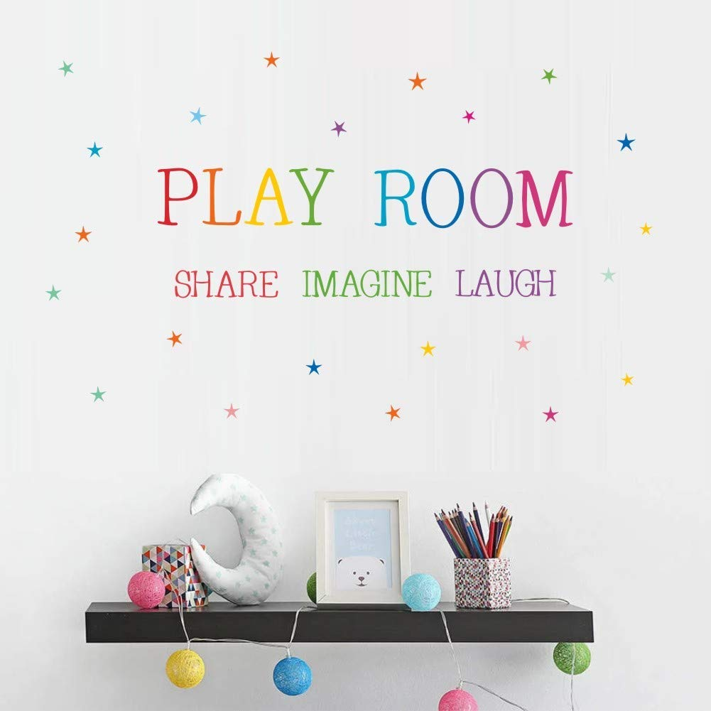Playroom Share Imagine Laugh Wall Decal, Colorful Inspirational Lettering Quote with Stars Wall Sticker for Classroom Playroom Decoration