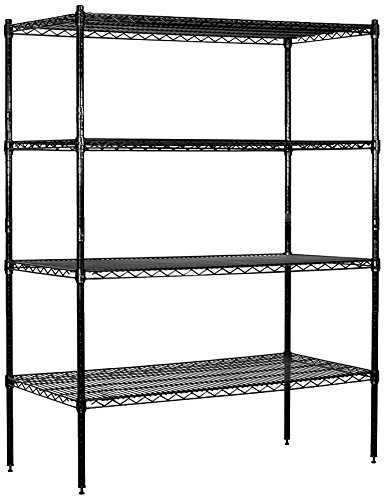 Salsbury Industries Stationary Wire Shelving Unit, 48-Inch Wide by 63-Inch High by 18-Inch Deep, Black - High Stationary