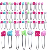 50 Pieces Animal Pattern Diaper Pins 2.4 inch Animal Pattern Plastic Head Cloth Diaper Pins Stain...