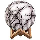 Lightning Night Light,Elstey 3 Colors 3D Printing Spherical Moon Lamp with Stand,5.9 Inch Glowing Decor Moon Light for Baby Kids Lover Birthday Party Gifts