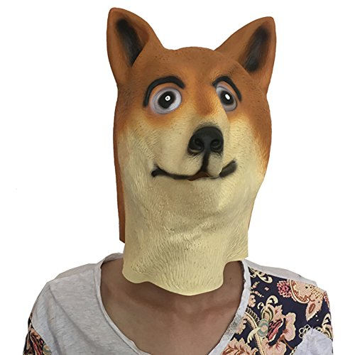 Halloween Dog Mask Costume Party Latex Animal Head Mask Doge -