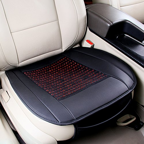 Universal Pu Leather Car Seat Covers Natural Wooden Bead Cover Summer Cool Cushion