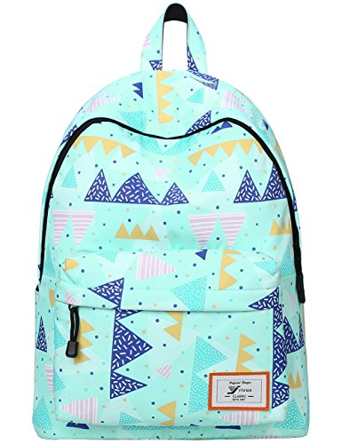 Mygreen Girls' Canvas Backpack Patterned Bookbag Laptop School Backpack Purse (Light Blue-Triangles)