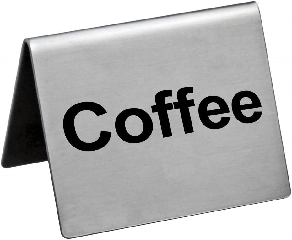 New Star Foodservice 27051 COFFEE Table Tent Sign, Stainless Steel, 2 x 2-Inch, Set of 2
