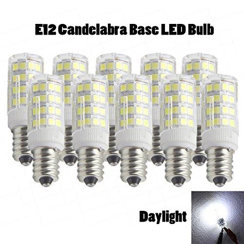 Ashialight LED Daylight Bulb-Dimmable,E12 Candelabra Base, Equal 35 Watt Halogen Bulb,120 volts,Repalcement T3/T4 C7/S6 Halogen Bulb (Pack of 10) (E12 Candelabra 120v Dimmable T3)