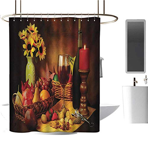 Winery Shower Curtains 3D Digital Printing Still Life Image of Red Wine Flowers Fruits and Nuts with Candle Romantic Evening Bathroom Decor Set with Hooks Multicolor
