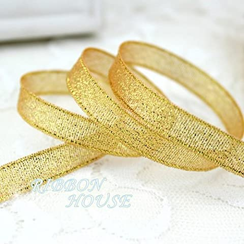 FunnyPicker (25Yards/Roll) 3/8''(10Mm) Metallic Glitter Ribbon Colorful Gift Package Ribbons Wholesale Gold Yellow