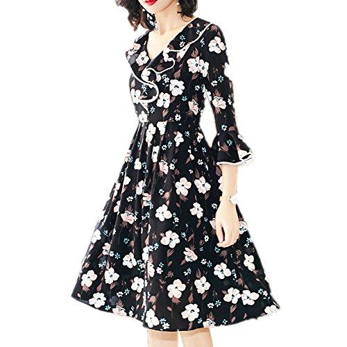 Half cotyledon Swing Women Waist Printed line Neck Big Dresses Dress V Sleeve for A High xwPIwqrtH
