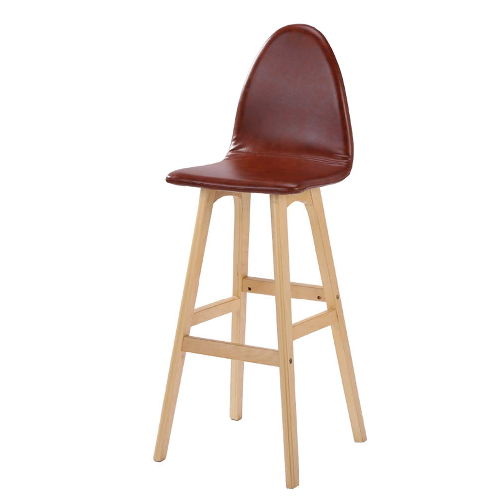 Brown 42x41x105cm LIQICAI Bar Stool Faux Leather Wooden High Legs Saddle Stool with Natural Finished Frame, 65 74cm Seat Height, 6 colors Optional (color   Green, Size   42x41x114cm)