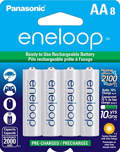 Panasonic BK-3MCCA8BA eneloop AA 2100 Cycle Ni-MH Pre-Charged Rechargeable Batteries, 8 Pack - Flashlight Never Needs Batteries