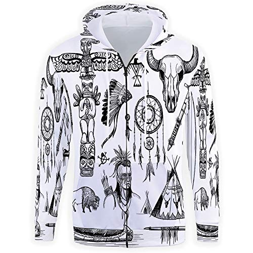 Unisex 3D Print,Native American Hoodies for Men Full Zip Plus Size Big and Tall