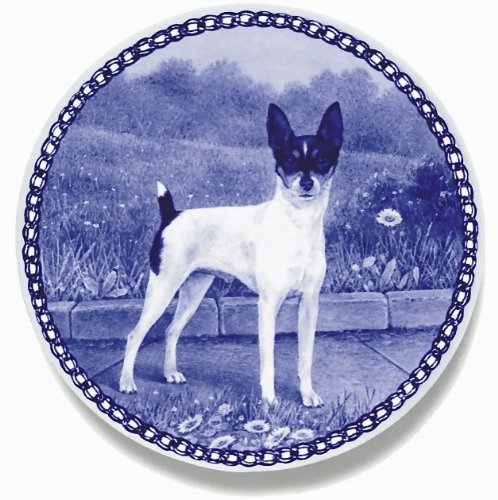 American Toy Terrier Lekven Design Dog Plate 19.5 cm /7.61 inches Made in Denmark NEW with certificate of origin PLATE #7467 by Lekven