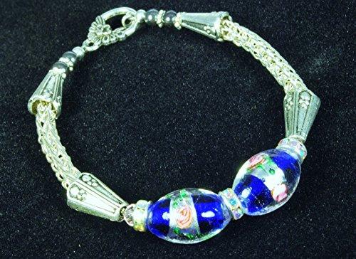 Glass Beads Art Metal Focal (Silver Viking Knit Bracelet with Royal Blue Floral Lampwork Focal Beads)