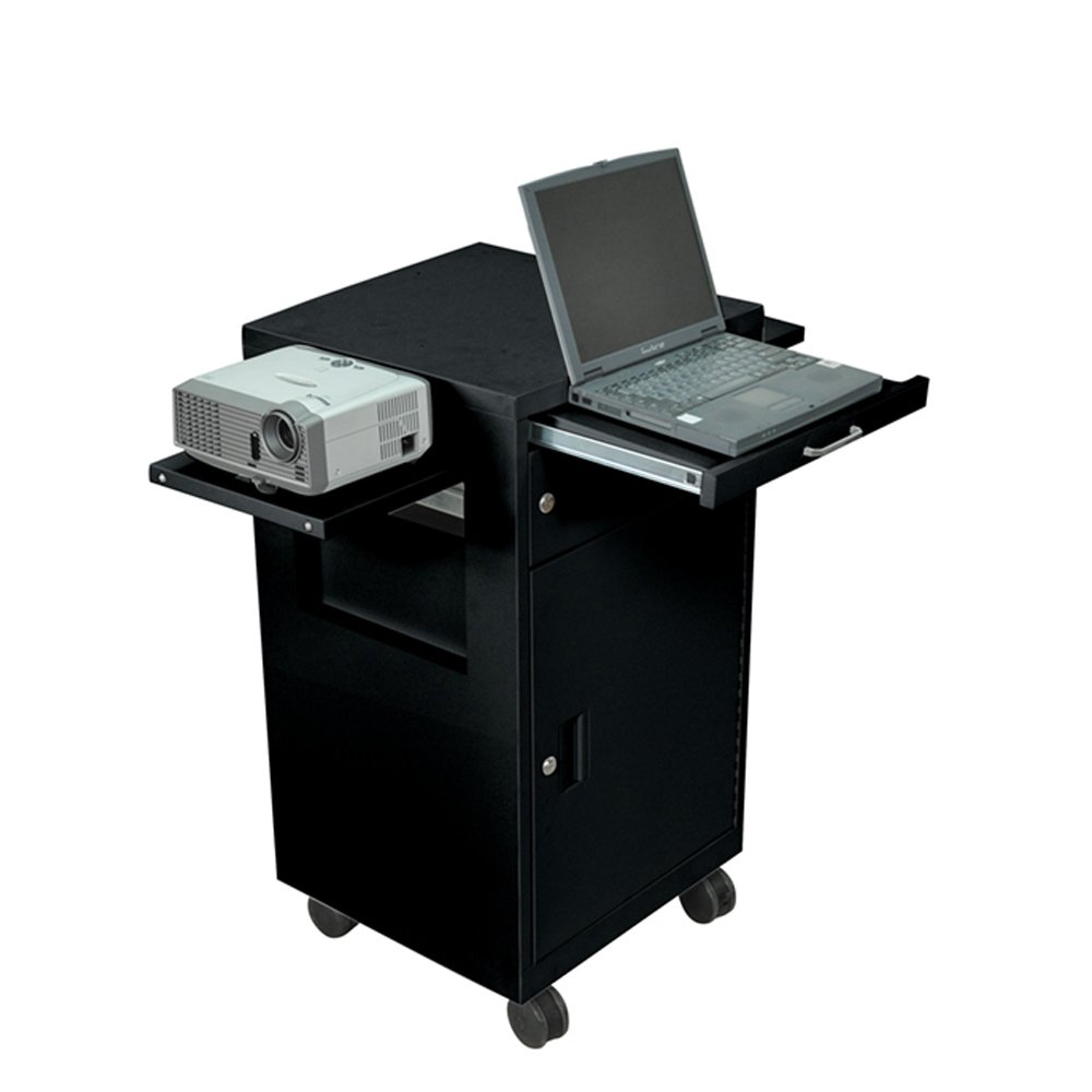 Luxor Black Steel Multi Media Presentation Cart with 2 Drop Leaf and Pullout Tray
