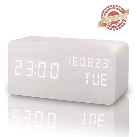 Amazon.com: Madera LED Digital reloj despertador, muestra la ...
