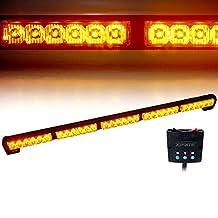 "Xprite 31.5"" 30 LED High Intensity Amber / Yellow 16 Modes Traffic Advisor Emergency Warning Vehicle Weather Proof Strobe Light Bar Kit"