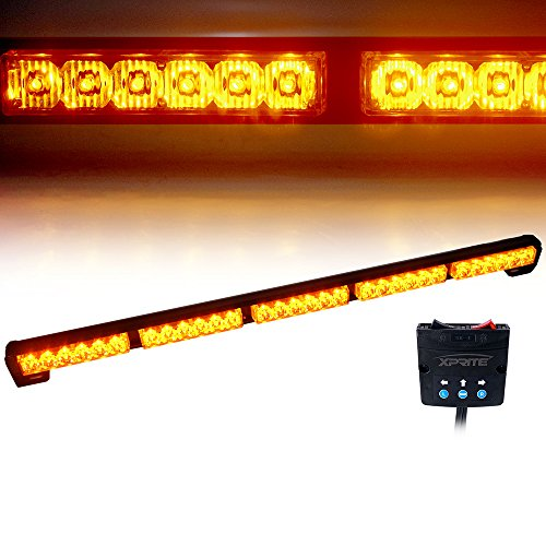 Xprite 31.5 30 LED 30W High Intensity Amber/Yellow 16 Modes Traffic Advisor Strobe Light Bar Kit