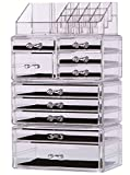 PengKe Large Cube Makeup Organizer Acrylic Cosmetic Storage Case and Jewelry Display Box,Each part can be used alone,keep your Vanity & Dresser Organized with 10 Drawers,Set of 4