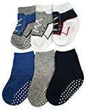 N'Ice Caps Boys and Baby Cotton/Spandex Casual Crew Socks - 6 Pair Pack (Sock Size 5-6.5/Little Kids Shoe 5-8.5, Navy/Royal/Grey/Print with Gripper)