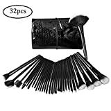 Alierkin Make Up Brush Set, 32 Pieces Cosmetics Brushes Kit with Leather Travel Pouch Bag Case,Professional Essential Makeup Brush Kits For Eye Shadow,Blush,Eyeliner,Eyebrow (Black)