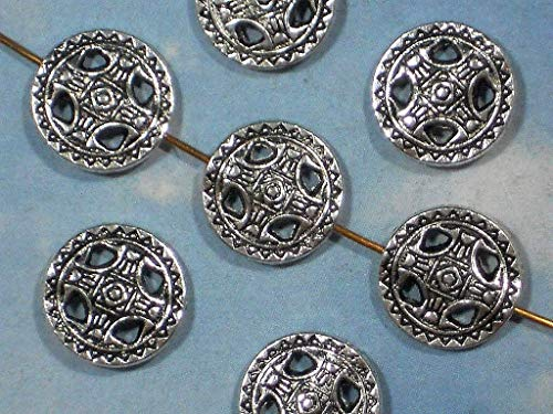 (10 Flat Disk Beads Pattern Antiqued Silver Tone Hill Tribes Style 14mm )
