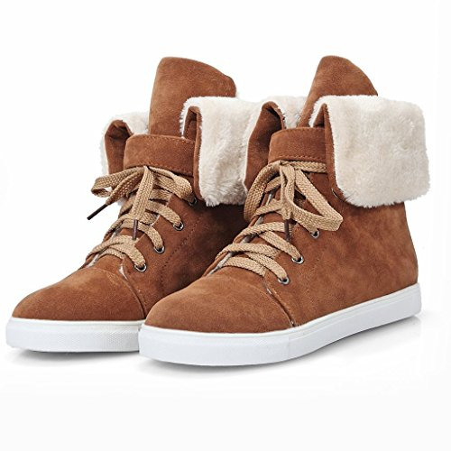 Kaloosh Women's Leisure Nubuck Leather Cute Lace Up Increased Internal Snow Boots Brown J4Ftz9jHN