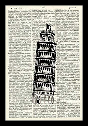 128 buyloii Leaning Tower of Pisa-Vintage Art Print-Italy Art Print-Illustration-Italian Art Print-Picture-Vintage Dictionary Art Print-Wall Hanging-Home D&eacutecor-Book PrintA4 12x8 inches