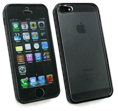 Emartbuy® Apple Iphone 5 5s Full Protection Case - Schwarz Moulded Bumper Frame Mit Integriertem Screen Guard & Frosted Hard Back