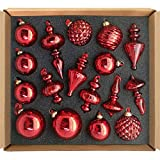 glasburg Size M Red Christmas Glass Ornament Tree Decoration (17 Ornaments)