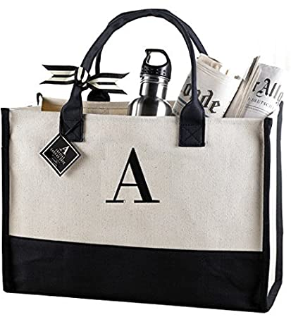 amazon com mud pie a initial canvas tote home kitchen