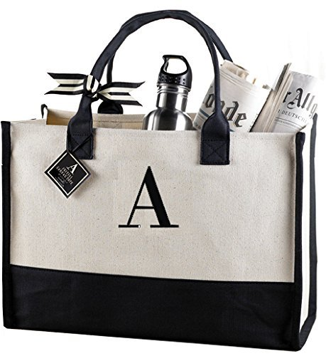 (Mud Pie A-Initial Canvas Tote )