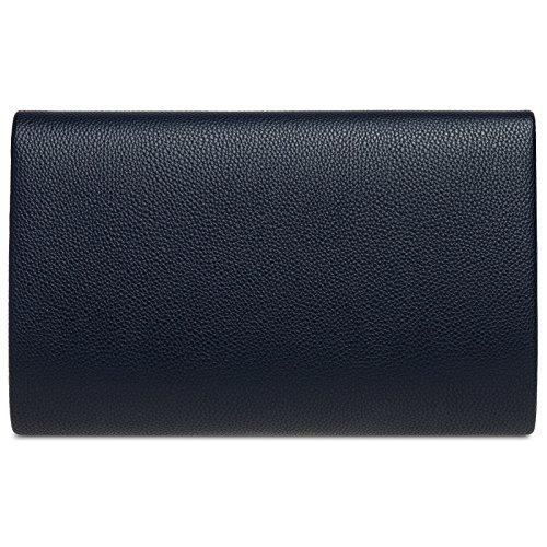 Azul para con Mujer Clutch Sobre de Grande de CASPAR Oscuro Estilo TA419 Metálica Bolso Mano Decoración Pnw6X4