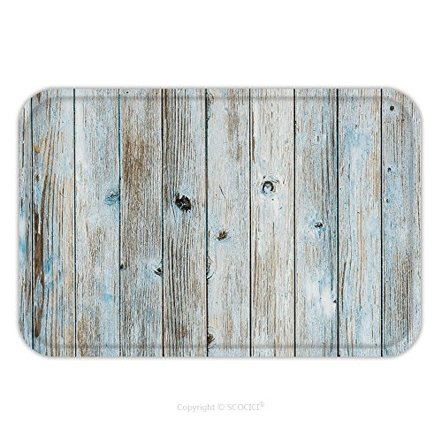 Flannel Microfiber Non-slip Rubber Backing Soft Absorbent Doormat Mat Rug Carpet Light Blue Turquoise Colored Wooden Planks Wall Background Texture 572958631 for Indoor/Outdoor/Bathroom/Kitchen/Workst (Tampa Upholstery)
