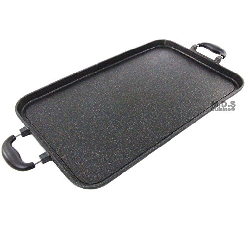 Double Griddle Marble Stone Non Stick Pan Heavy Duty Skillet New 19