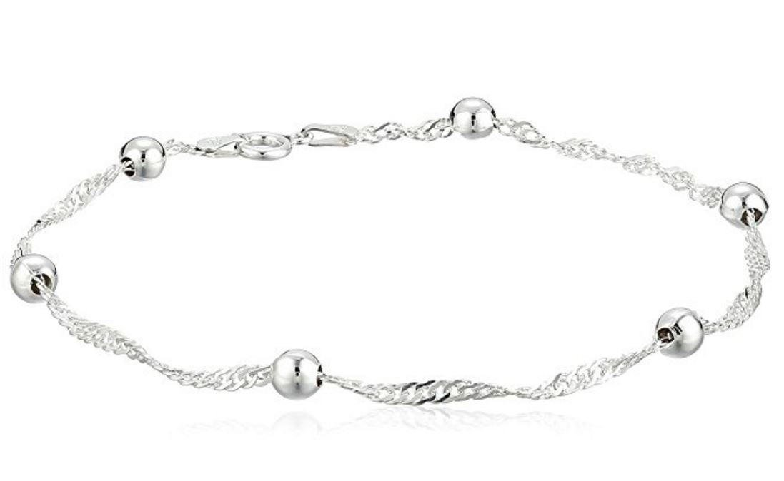 1pc Authentic Sterling Silver Anklet Bracelet Singapore-Chain Anklet | Singapore Anklet Chain 11'' Great Gift #SSA6-C