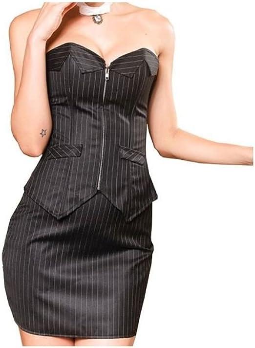 Corset bustier-falda de satén, color negro negro Small: Amazon.es ...