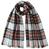 Black/Red/White Dress Stewart Extra Fine Wide Tartan Scarf by Johnstons of Elgin