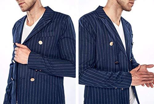 Traje Chaquetas navy Jacket Moda Fit La Stand blazer Elegante Slim Simple Tuxedo Hombres Solapa 02 De Collar Boda Raya Los Estilo O6wpqp