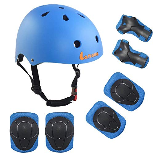 (NXqilixiang Kids Sport Protective Gear Set 7PCS Adjustable Helmet Elbow Knee Wrist Pads for Boy Girl Skating Skateboarding Scooter Rollerblading Cycling (4-11 Years Old) (Blue))