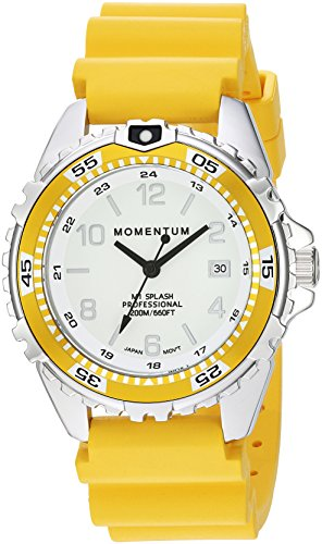 Women's Quartz Watch | M1 Splash by Momentum| Stainless Steel Watches for Women | Dive Watch with Japanese Movement & Analog Display | Water Resistant ladies watch with Date –Lume/Yellow Rubber