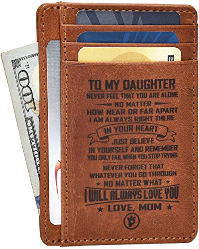 Engraved Mother Daughter Gift Wallet - Personalized Anniversary Birthday Gifts for Women Sister Front Pocket Leather Wallets Slim RFID I love you Ideas