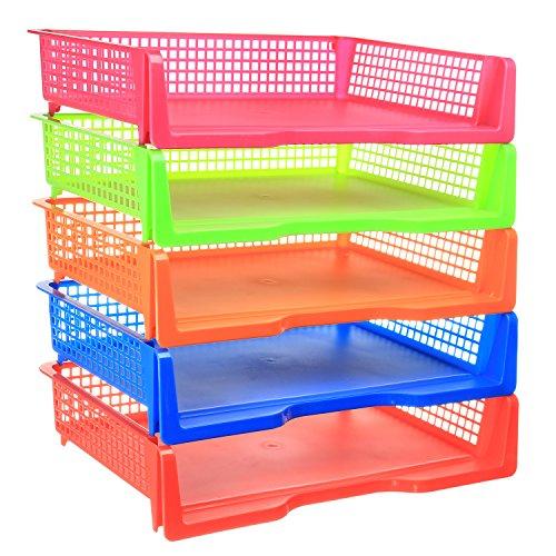 5 Tier - Plastic Desk Letter Organizer Tray, Stacking Side Load Office Desktop Document Storage Paper Holder, 5 Color Set (Landscape)