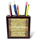3dRose ph_162528_1 Islamic Suras Arabic Text-Muslim Vintage Art by Abdullah Edirnevi-Arabian Qur'an Prayers-Islam-Tile Pen Holder, 5''