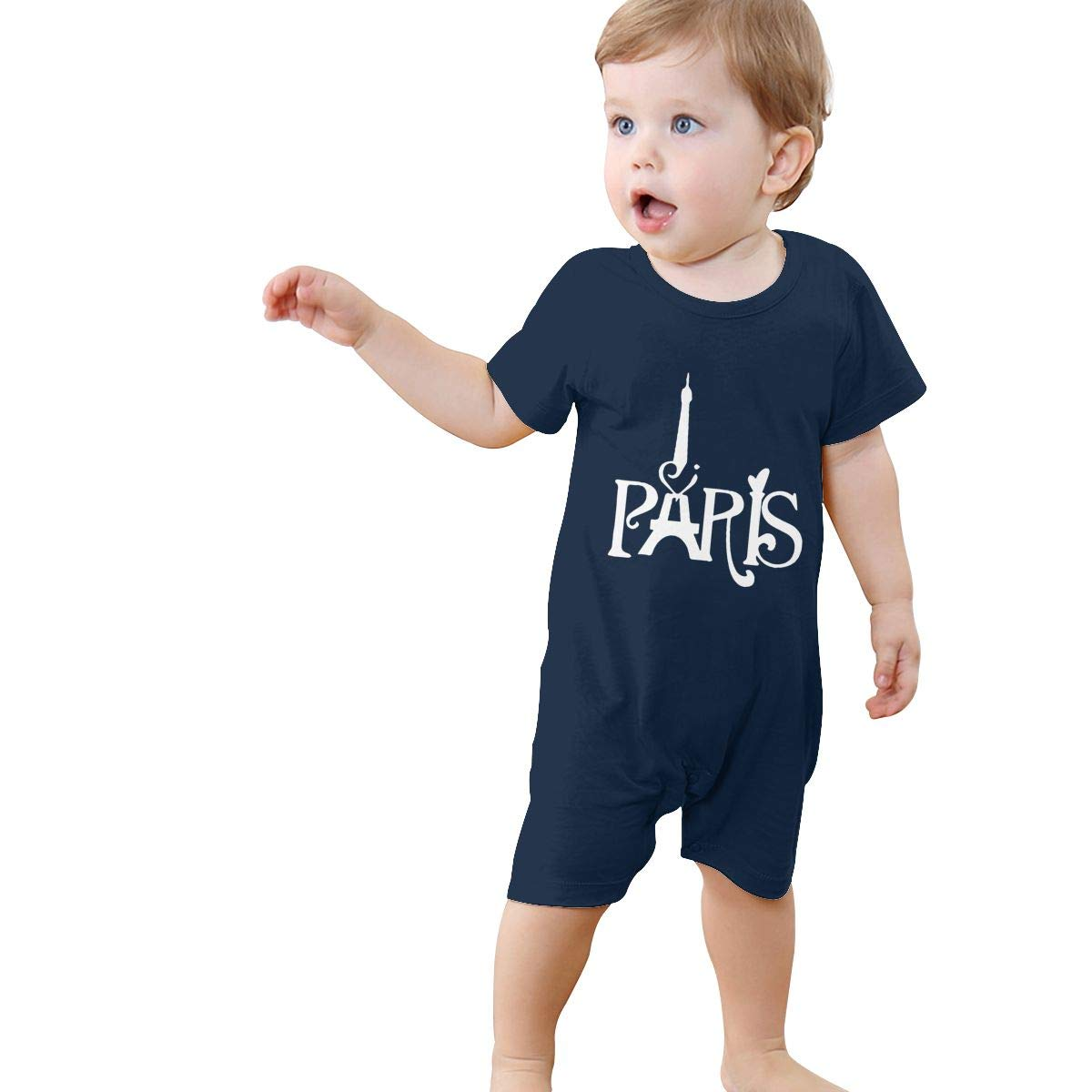 French Paris Eiffel Tower Baby Girl Short Sleeve Bodysuit Infant Romper Jumpsuit 0-24 Months